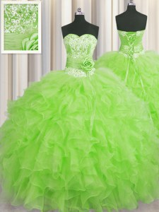 Eye-catching Handcrafted Flower Floor Length 15 Quinceanera Dress Organza Sleeveless Beading and Ruffles and Hand Made Flower