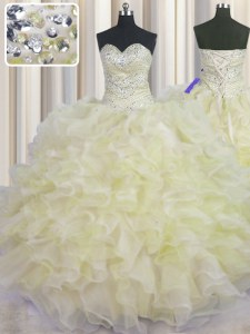 Enchanting Light Yellow Sweetheart Neckline Beading and Ruffles Ball Gown Prom Dress Sleeveless Lace Up