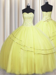 Visible Boning Really Puffy Beading Quinceanera Gowns Light Yellow Lace Up Sleeveless Floor Length