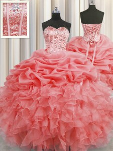 Designer Pick Ups Visible Boning Watermelon Red Sleeveless Organza Lace Up Sweet 16 Dresses for Military Ball and Sweet 16 and Quinceanera