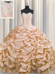 Brush Train Sleeveless Taffeta Sweep Train Lace Up 15th Birthday Dress in Peach with Beading and Pick Ups