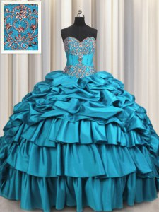 Luxurious Beading and Embroidery and Ruffled Layers and Pick Ups Quinceanera Dress Teal Lace Up Sleeveless Brush Train