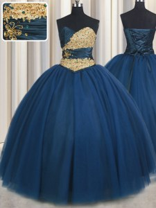 Sweetheart Sleeveless Chiffon Quinceanera Gown Beading and Ruching and Belt Lace Up