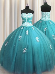 Halter Top Sleeveless Tulle Quinceanera Gown Beading and Appliques Lace Up