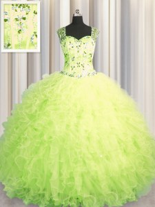 See Through Zipper Up Yellow Green Ball Gowns Beading and Ruffles Quinceanera Dress Zipper Tulle Sleeveless Floor Length