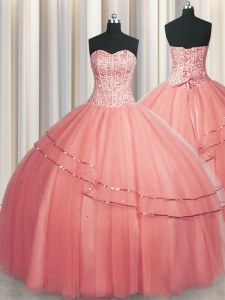 Popular Visible Boning Puffy Skirt Watermelon Red Sweetheart Neckline Beading 15 Quinceanera Dress Sleeveless Lace Up