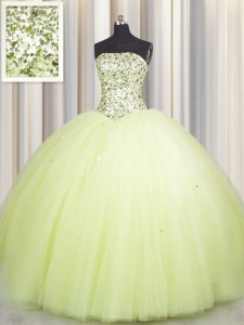 Unique Big Puffy Light Yellow Lace Up Strapless Beading and Sequins Vestidos de Quinceanera Tulle Sleeveless