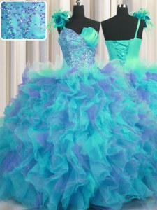 Wonderful One Shoulder Handcrafted Flower Sleeveless Tulle Floor Length Lace Up Quince Ball Gowns in Multi-color with Beading and Ruffles and Hand Made Flower