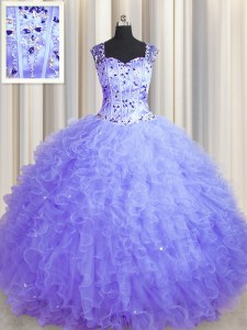 Perfect See Through Zipper Up Square Sleeveless 15th Birthday Dress Floor Length Beading and Ruffles Lavender Tulle