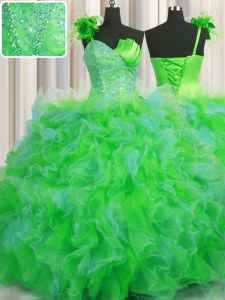 On Sale One Shoulder Handcrafted Flower Floor Length Ball Gowns Sleeveless Multi-color Sweet 16 Quinceanera Dress Lace Up