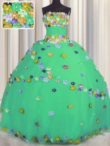 Strapless Sleeveless Sweet 16 Dresses Floor Length Hand Made Flower Turquoise Tulle