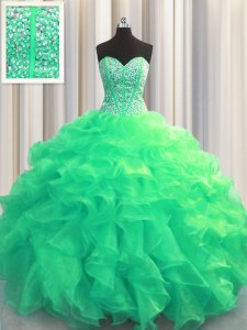 Stunning Visible Boning Organza Sleeveless Floor Length Ball Gown Prom Dress and Beading and Ruffles
