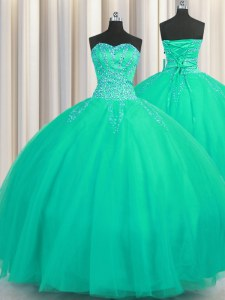Really Puffy Sleeveless Beading Lace Up Sweet 16 Quinceanera Dress