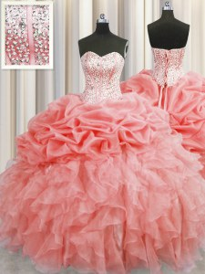 Visible Boning Watermelon Red Ball Gowns Sweetheart Sleeveless Organza Floor Length Lace Up Ruffles and Pick Ups Quinceanera Dress