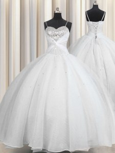 Spaghetti Straps Sleeveless Organza Sweet 16 Quinceanera Dress Beading and Ruching Lace Up