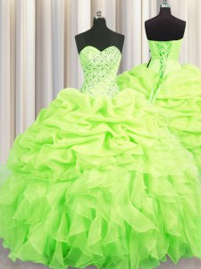 Shining Floor Length Lace Up Quinceanera Gowns Yellow Green for Military Ball and Sweet 16 and Quinceanera with Beading and Ruffles and Pick Ups
