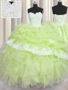 Best Sleeveless Lace Up Floor Length Beading and Appliques and Ruffles and Pick Ups Quinceanera Gown