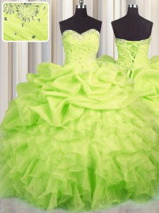 Stunning Yellow Green Ball Gowns Beading and Ruffles and Ruching and Pick Ups Sweet 16 Dress Lace Up Organza Sleeveless Floor Length