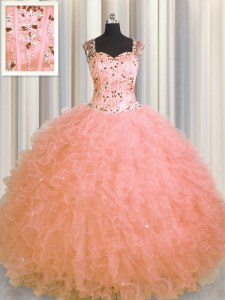 See Through Zipper Up Beading and Ruffles Quinceanera Dresses Watermelon Red Zipper Sleeveless Floor Length