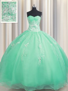Luxurious Zipper Up Apple Green Ball Gowns Sweetheart Sleeveless Organza Floor Length Zipper Beading and Appliques Sweet 16 Quinceanera Dress