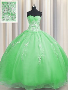 Fitting Zipper Up Sweetheart Neckline Beading and Appliques Quinceanera Gowns Sleeveless Zipper