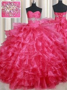 Modest Coral Red Organza Lace Up 15th Birthday Dress Sleeveless Floor Length Ruffled Layers