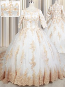 Designer White Scoop Neckline Beading and Lace and Appliques 15 Quinceanera Dress Half Sleeves Zipper