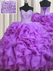 Graceful Lilac Ball Gowns Beading and Ruffles Ball Gown Prom Dress Lace Up Organza Sleeveless