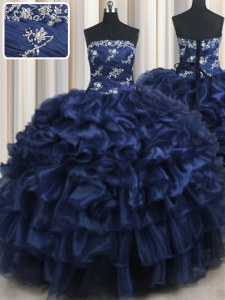 Navy Blue Strapless Lace Up Appliques and Ruffles and Pick Ups Sweet 16 Dresses Sleeveless