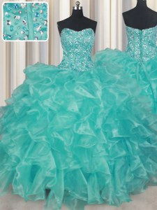 Fine Turquoise Sleeveless Beading and Ruffles Floor Length Vestidos de Quinceanera