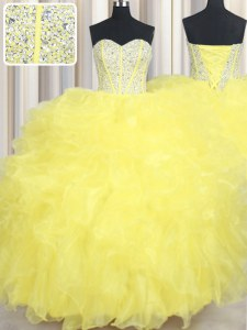 Yellow Lace Up Ball Gown Prom Dress Beading and Ruffles Sleeveless Floor Length