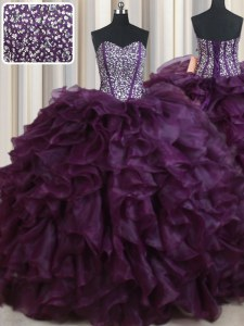 Flare Beading and Ruffles Sweet 16 Dress Dark Purple Lace Up Sleeveless Floor Length