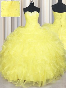 Sleeveless Floor Length Beading and Ruffles Lace Up Quinceanera Gowns with Yellow