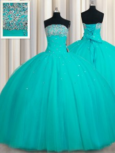 Beauteous Floor Length Lace Up Quince Ball Gowns Aqua Blue for Military Ball and Sweet 16 and Quinceanera with Beading and Sequins