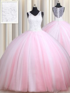 Sexy Straps Pink And White Sleeveless Tulle Zipper Vestidos de Quinceanera for Military Ball and Sweet 16 and Quinceanera