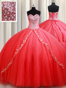 On Sale Sleeveless Lace Up Floor Length Beading and Appliques Sweet 16 Dress