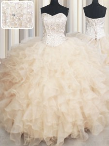 Champagne Lace Up Quinceanera Dress Beading and Ruffles Sleeveless Floor Length