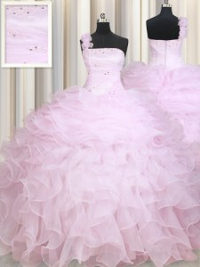 One Shoulder Sleeveless Organza Floor Length Zipper Quinceanera Gowns in Baby Pink with Beading and Ruffles