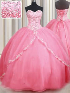 Sweetheart Sleeveless Organza Quinceanera Gowns Beading and Appliques Brush Train Lace Up