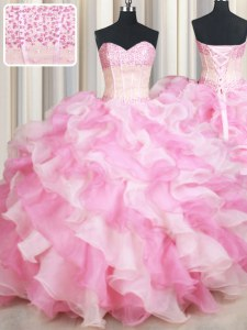 Most Popular Floor Length Lace Up Quince Ball Gowns Pink And White for Military Ball and Sweet 16 and Quinceanera with Beading and Ruffles
