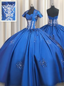 Latest Taffeta Sweetheart Short Sleeves Lace Up Beading and Appliques Ball Gown Prom Dress in Blue