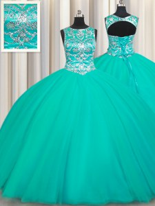 Fitting Scoop Turquoise Sleeveless Floor Length Appliques Lace Up Sweet 16 Dresses
