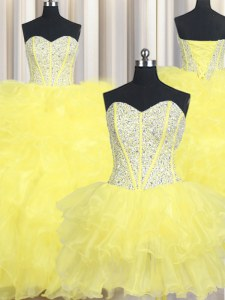 Three Piece Ball Gowns Quinceanera Dress Yellow Sweetheart Organza Sleeveless Floor Length Lace Up
