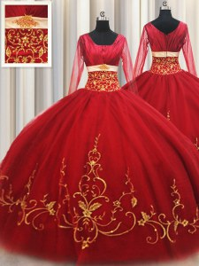 Glorious Square Red Long Sleeves Tulle Zipper Quinceanera Dresses for Military Ball and Sweet 16 and Quinceanera