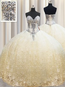 Champagne Sleeveless Floor Length Beading and Appliques Lace Up 15 Quinceanera Dress