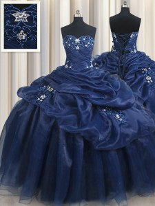 Navy Blue Lace Up Sweet 16 Quinceanera Dress Appliques and Pick Ups Sleeveless Floor Length