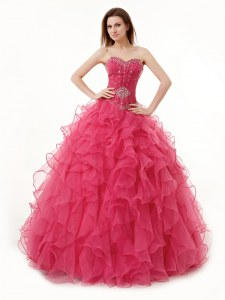 Inexpensive Organza Sleeveless Floor Length Ball Gown Prom Dress and Beading and Ruffles