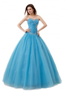 Sweetheart Sleeveless Vestidos de Quinceanera Floor Length Beading and Ruching Baby Blue Tulle