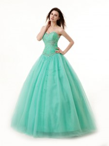 Turquoise Chiffon Lace Up Sweetheart Sleeveless Floor Length Ball Gown Prom Dress Beading and Ruching