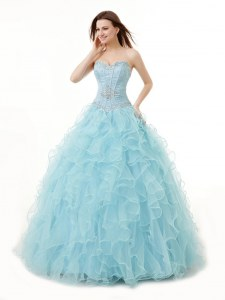Trendy Light Blue Organza Lace Up Sweetheart Sleeveless Floor Length Quinceanera Gown Beading and Ruffles
